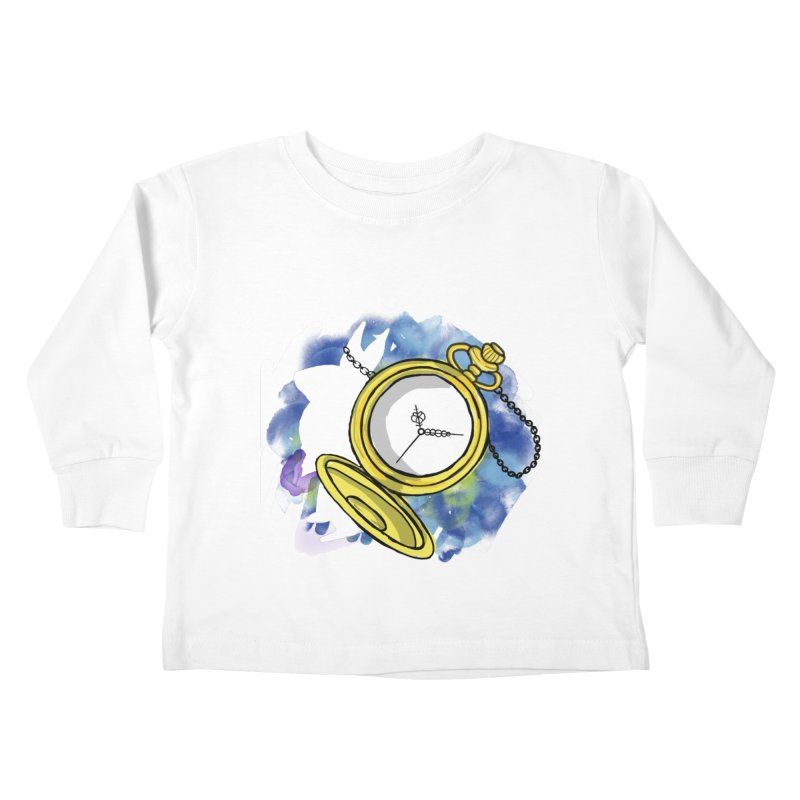 White rabbit time Kids Toddler Longsleeve T-Shirt by Colmena Ink's Shop