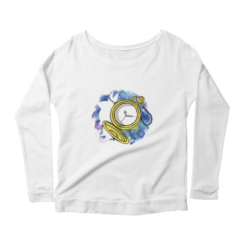 White rabbit time Women's Scoop Neck Longsleeve T-Shirt by Colmena Ink's Shop
