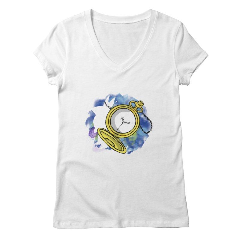 White rabbit time Women's Regular V-Neck by Colmena Ink's Shop