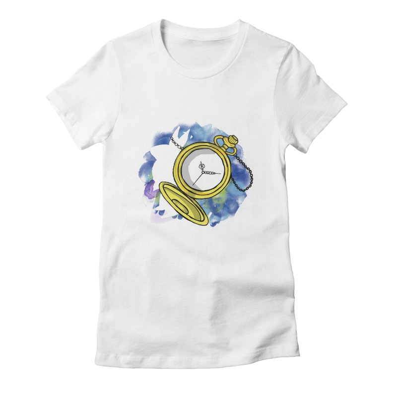 White rabbit time Women's Fitted T-Shirt by Colmena Ink's Shop