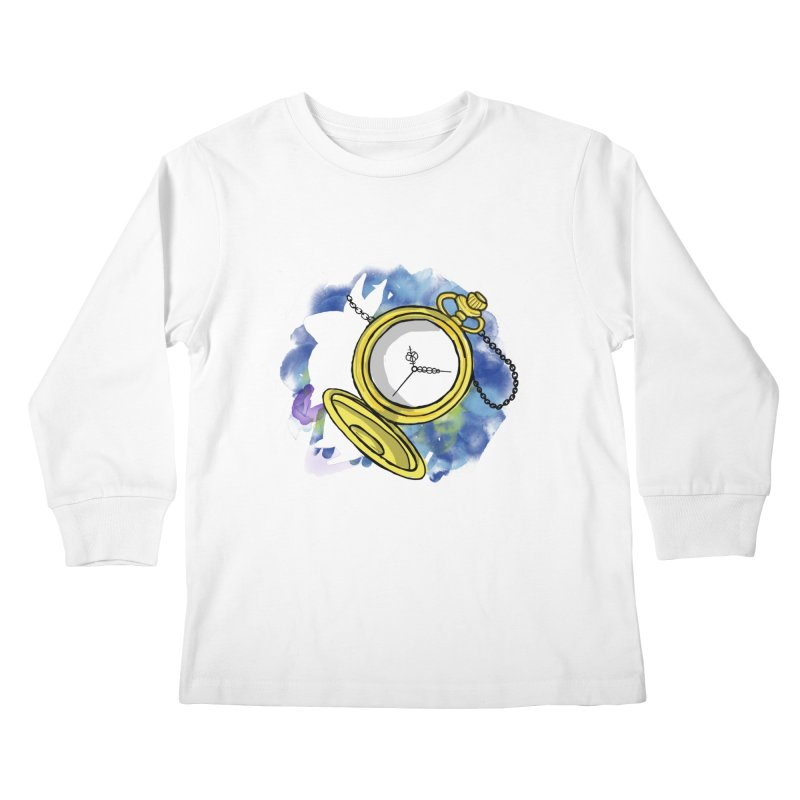 White rabbit time Kids Longsleeve T-Shirt by Colmena Ink's Shop