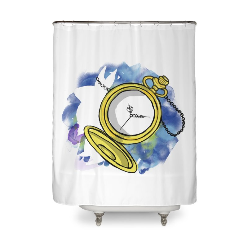 White rabbit time Home Shower Curtain by Colmena Ink's Shop