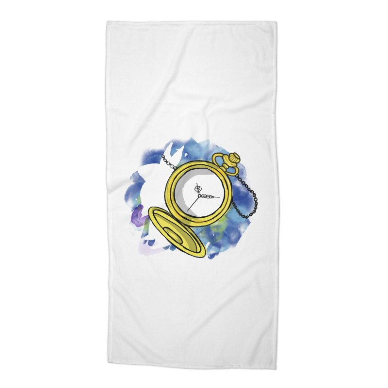 White rabbit time Accessories Beach Towel by Colmena Ink's Shop