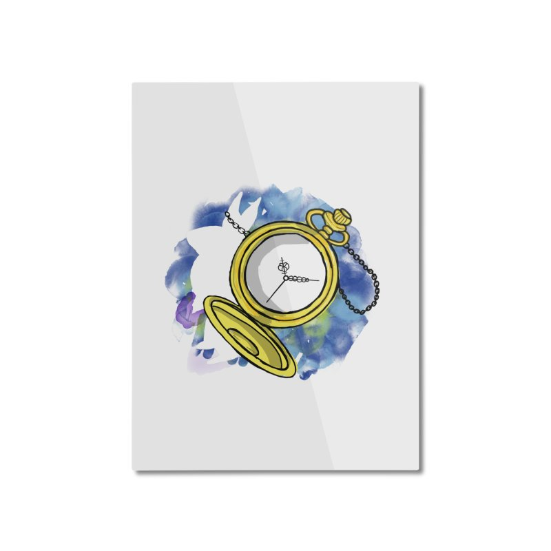 White rabbit time Home Mounted Aluminum Print by Colmena Ink's Shop