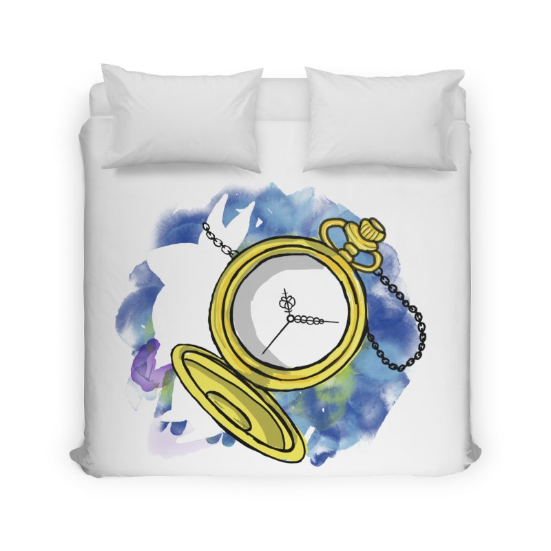 White rabbit time Home Duvet by Colmena Ink's Shop