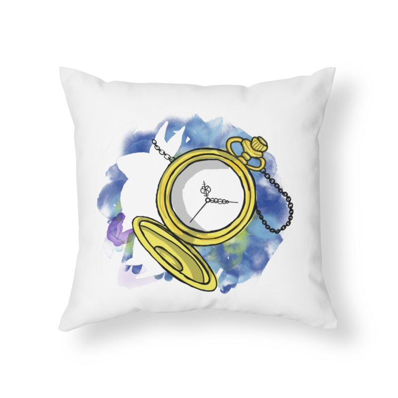 White rabbit time Home Throw Pillow by Colmena Ink's Shop