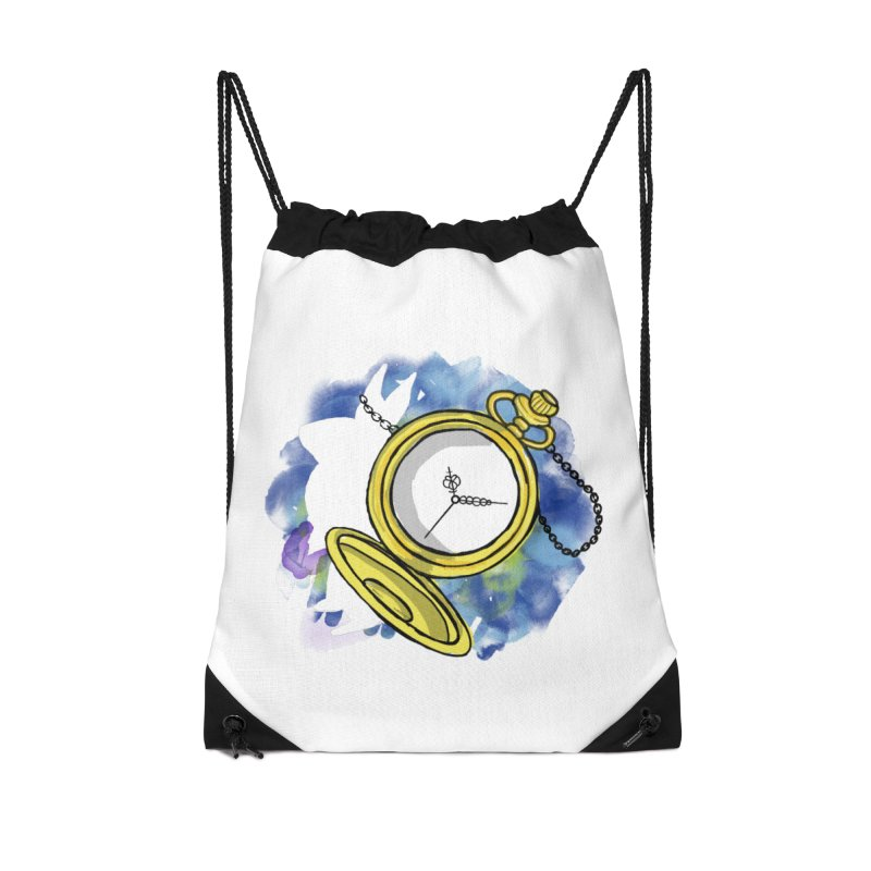White rabbit time Accessories Drawstring Bag Bag by Colmena Ink's Shop