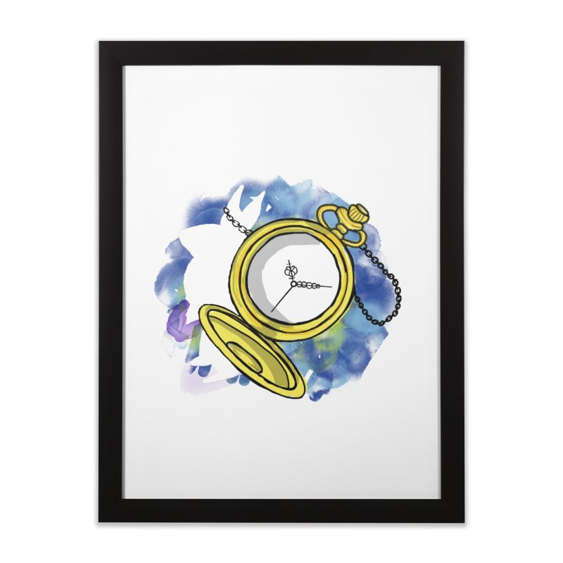White rabbit time Home Framed Fine Art Print by Colmena Ink's Shop