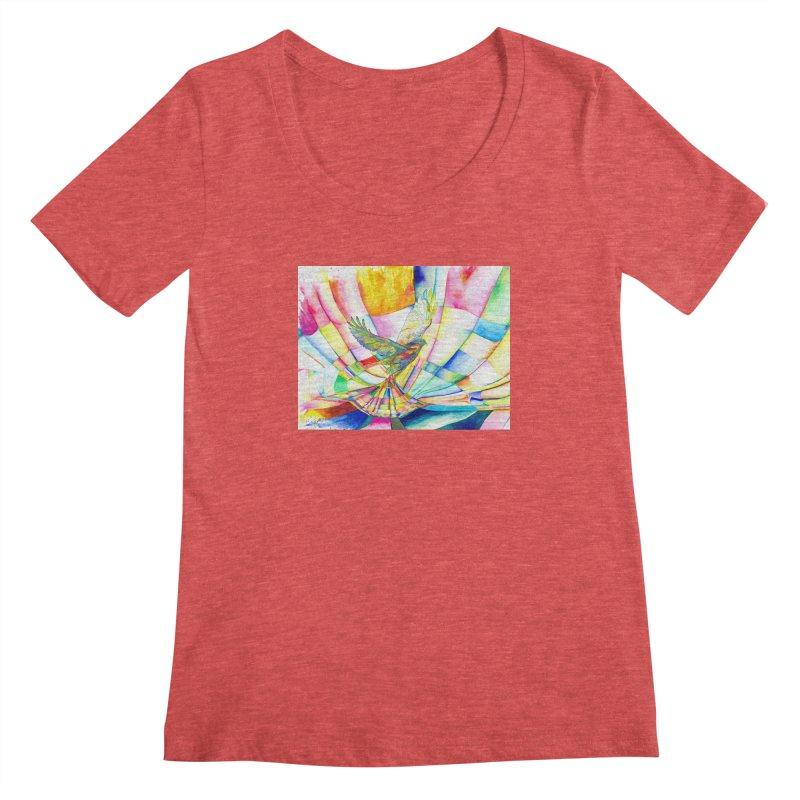 I Am Slumber-Catcher, the Hawk Women's Scoopneck by Colour Wave Art SHOP