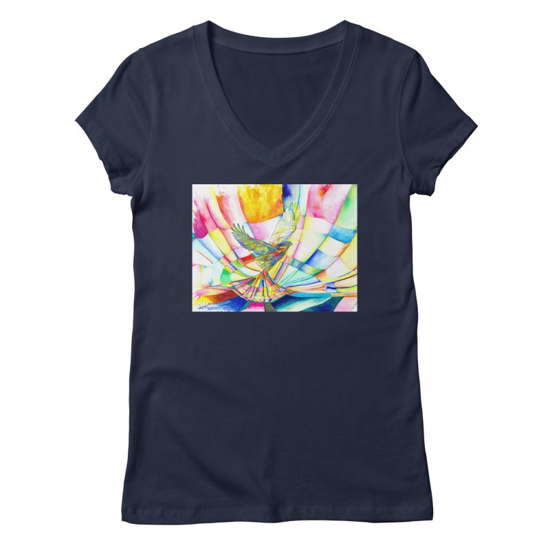 I Am Slumber-Catcher, the Hawk Women's V-Neck by Colour Wave Art SHOP