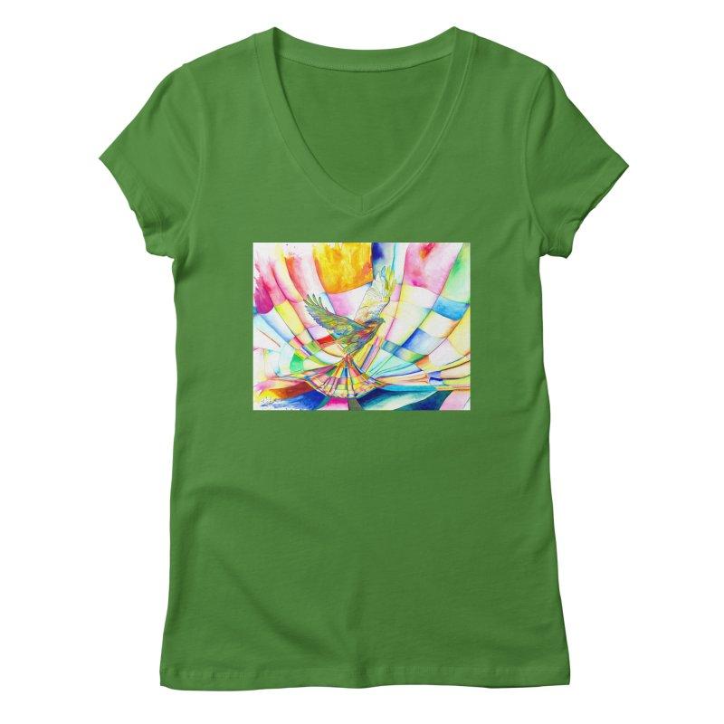 I Am Slumber-Catcher, the Hawk Women's V-Neck by Colour Wave Art SHOP