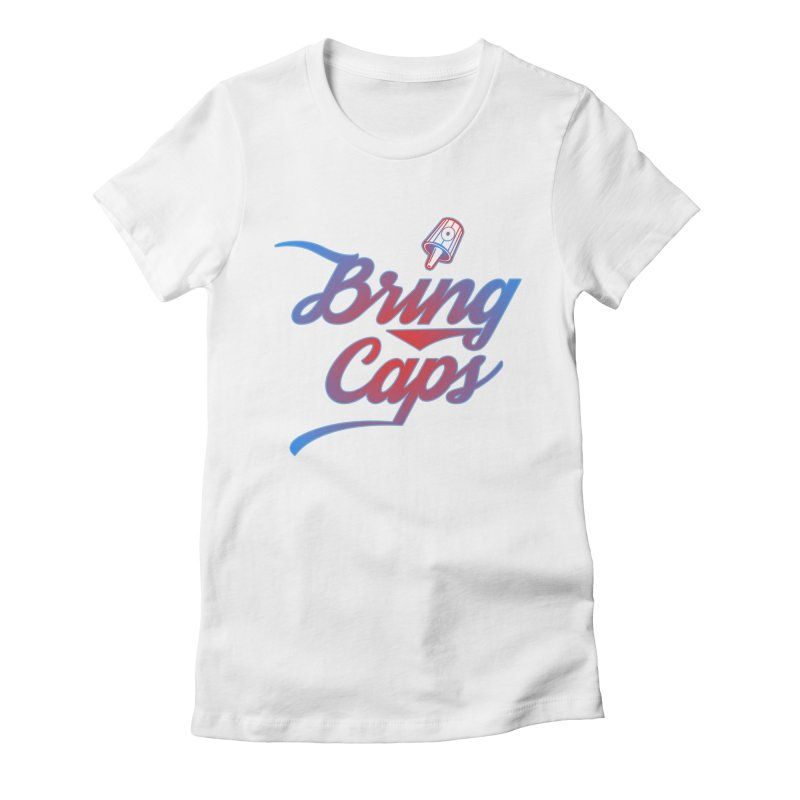 Red & Blue Gradient Bring Caps Graffiti Streetwear V2 Women's Fitted T-Shirt by Coma Free Urban Art & Design