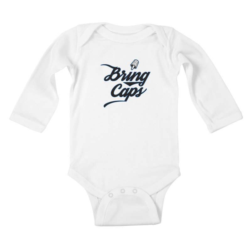 Black & Blue Bring Caps Streetwear V5 Kids Baby Longsleeve Bodysuit by Coma Free Urban Art & Design