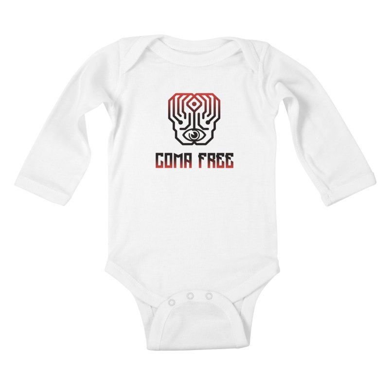 Red and Black Gradient Coma Free Streetwear Design Kids Baby Longsleeve Bodysuit by Coma Free Urban Art & Design