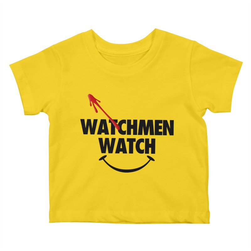 Watchmen Watch - Black on Yellow Kids Baby T-Shirt by Comic Book Club Official Shop