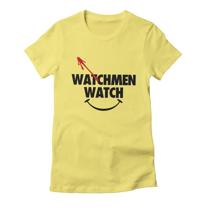 Watchmen Watch - Black on Yellow Women's Fitted T-Shirt by Comic Book Club Official Shop