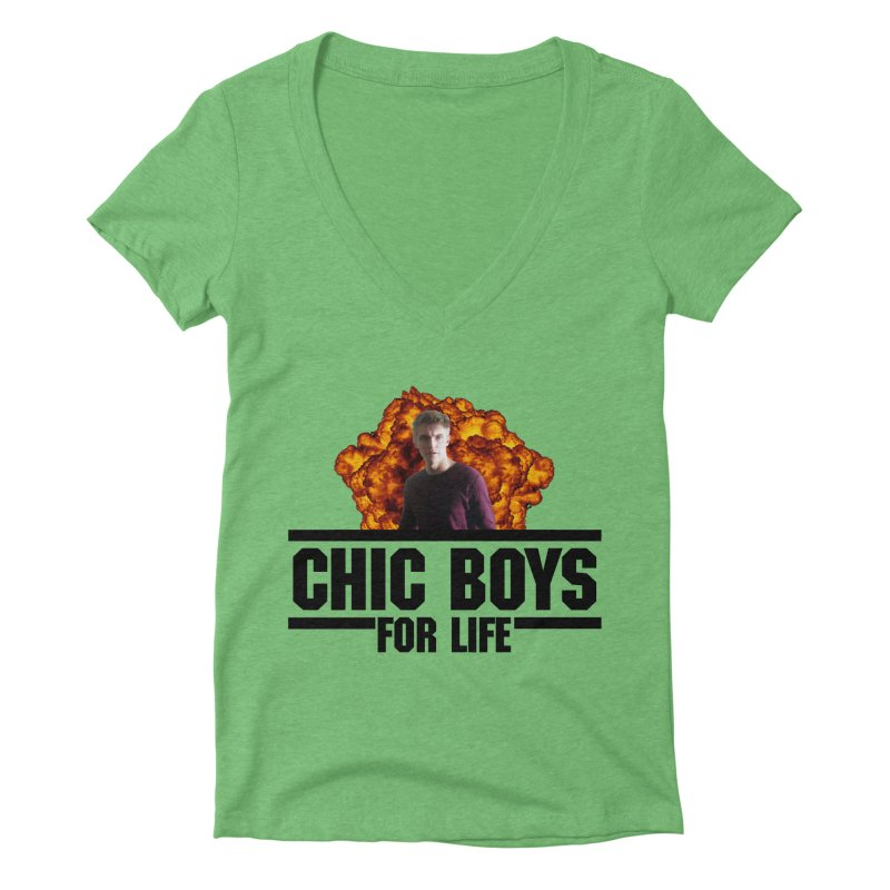 Chic Boys For Life Women's Deep V-Neck V-Neck by Comic Book Club Official Shop