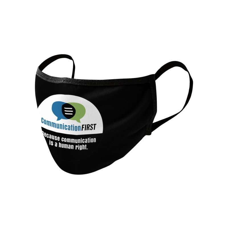 Green-Blue-White-over-Black Round CommunicationFIRST Logo Accessories Face Mask by CommunicationFIRST's Artist Shop