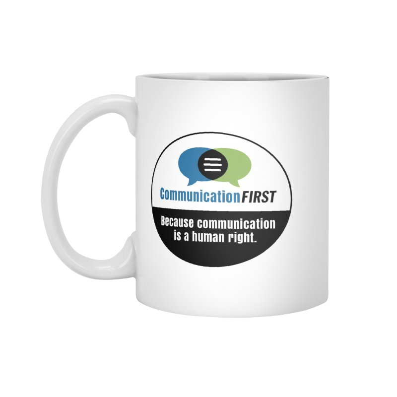 Green-Blue-White-over-Black Round CommunicationFIRST Logo Accessories Mug by CommunicationFIRST's Artist Shop