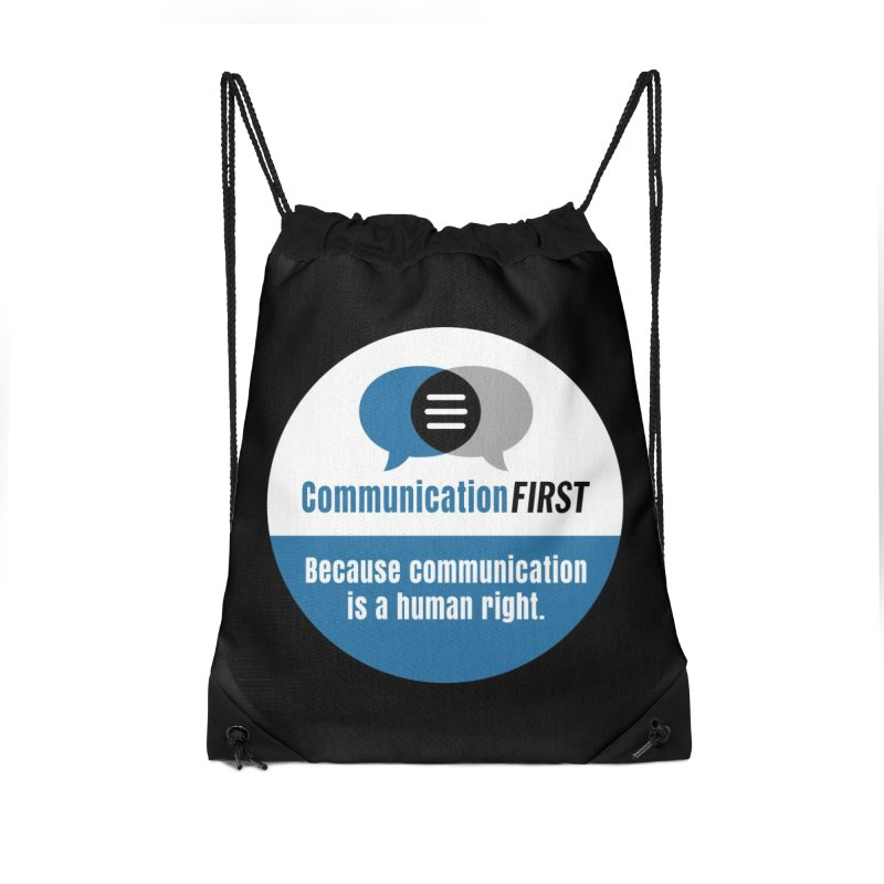 White-over-Blue-on-Black Round CommunicationFIRST Logo Accessories Bag by CommunicationFIRST's Artist Shop