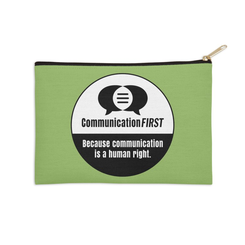 White-over-Black Round CommunicationFIRST Logo Accessories Zip Pouch by CommunicationFIRST's Artist Shop
