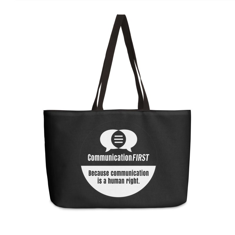 Black-over-White Round CommunicationFIRST Logo Accessories Bag by CommunicationFIRST's Artist Shop