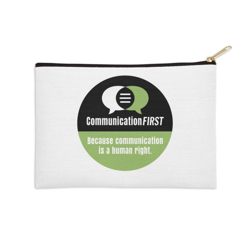 Black-Green-White Round CommunicationFIRST Logo Accessories Zip Pouch by CommunicationFIRST's Artist Shop