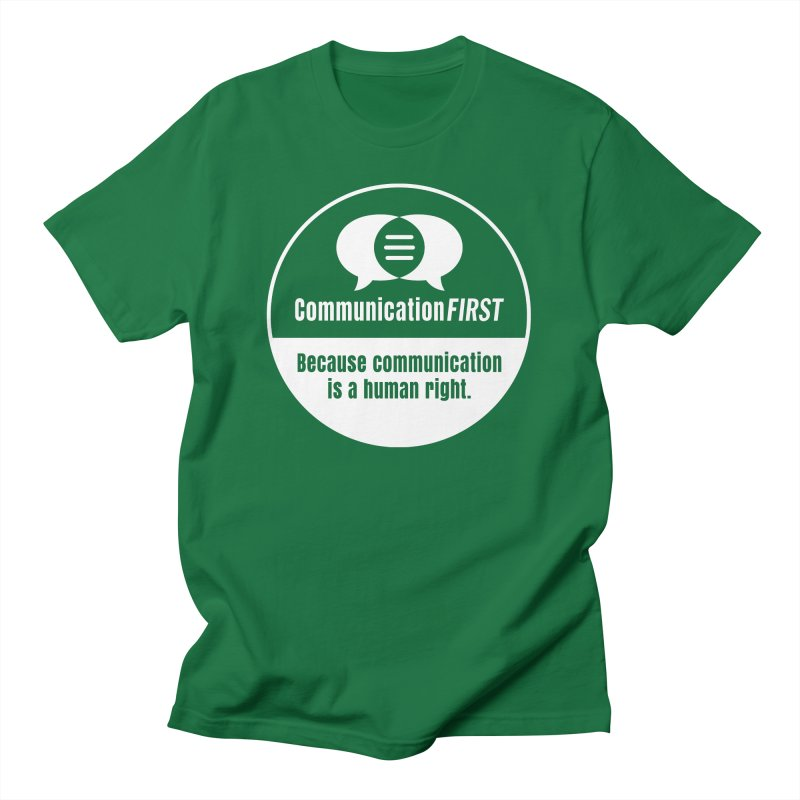 White-on-Color Round CommunicationFIRST Logo Men's T-Shirt by CommunicationFIRST's Artist Shop