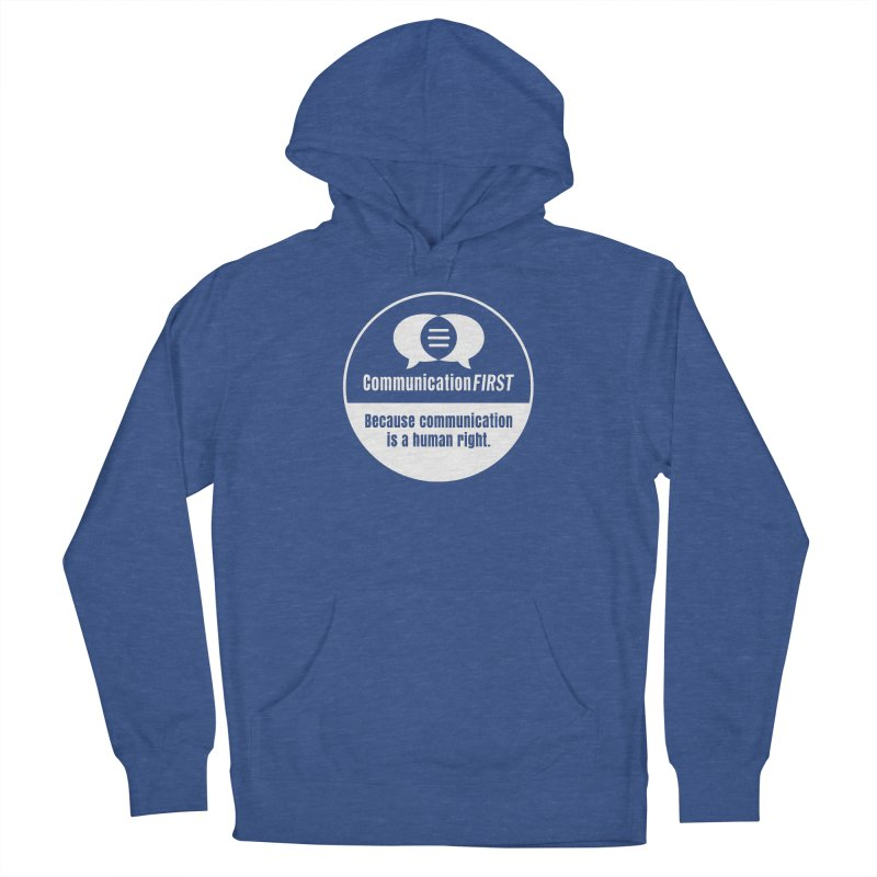 White-on-Color Round CommunicationFIRST Logo Men's Pullover Hoody by CommunicationFIRST's Artist Shop
