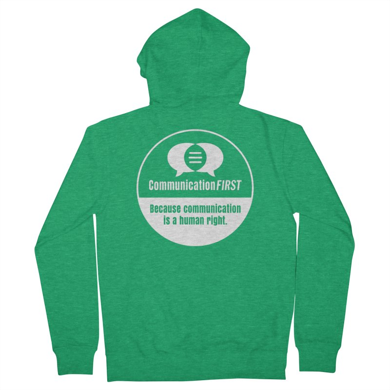 White-on-Color Round CommunicationFIRST Logo Men's Zip-Up Hoody by CommunicationFIRST's Artist Shop