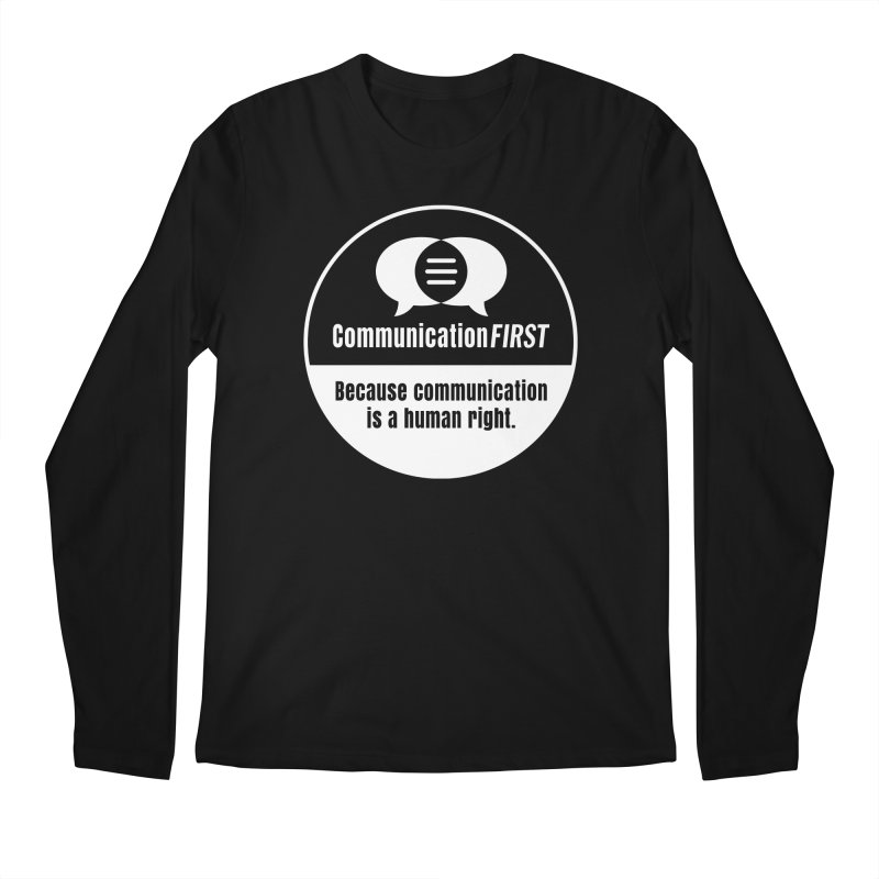 White-on-Color Round CommunicationFIRST Logo Men's Longsleeve T-Shirt by CommunicationFIRST's Artist Shop