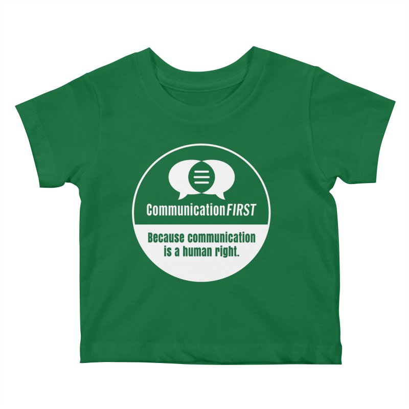 White-on-Color Round CommunicationFIRST Logo Kids Baby T-Shirt by CommunicationFIRST's Artist Shop