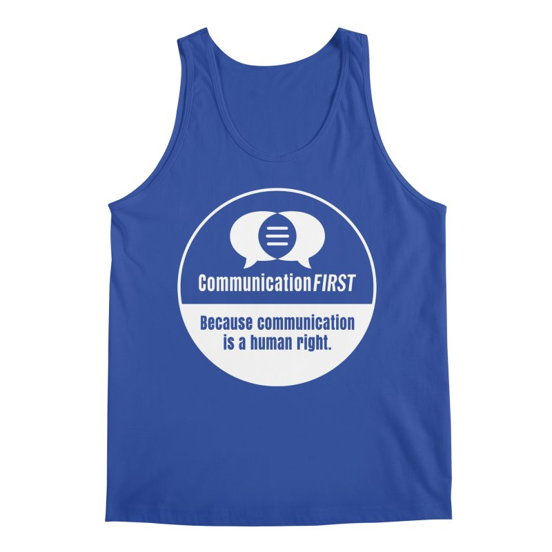 White-on-Color Round CommunicationFIRST Logo Men's Tank by CommunicationFIRST's Artist Shop
