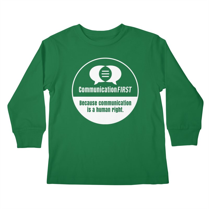 White-on-Color Round CommunicationFIRST Logo Kids Longsleeve T-Shirt by CommunicationFIRST's Artist Shop