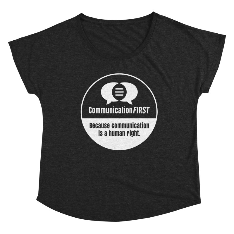 White-on-Color Round CommunicationFIRST Logo Women's Scoop Neck by CommunicationFIRST's Artist Shop