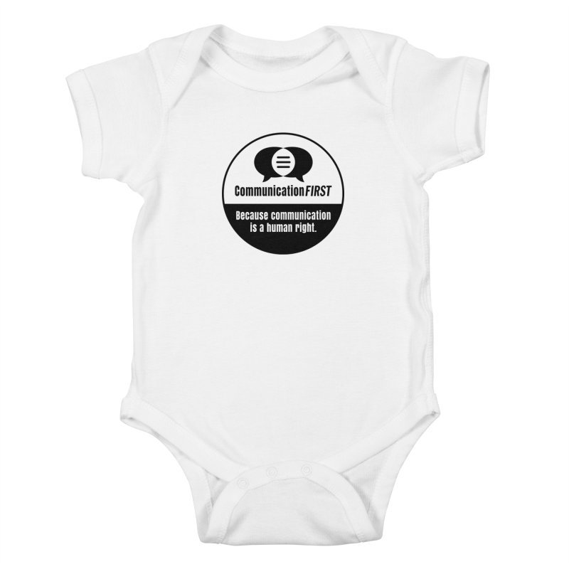 Black-and-White Round CommunicationFIRST Logo Kids Baby Bodysuit by CommunicationFIRST's Artist Shop