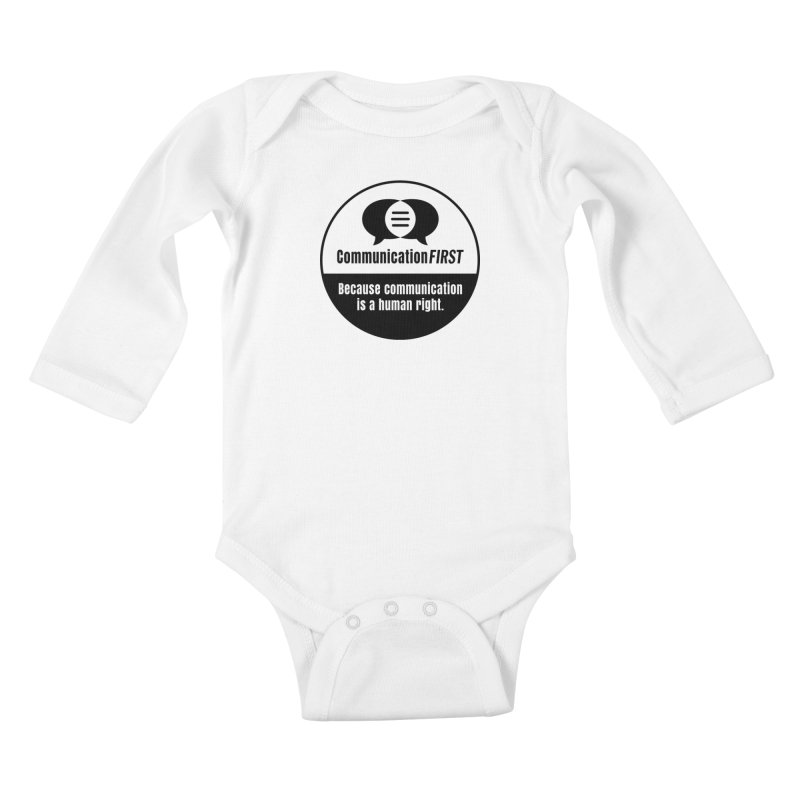 Black-and-White Round CommunicationFIRST Logo Kids Baby Longsleeve Bodysuit by CommunicationFIRST's Artist Shop