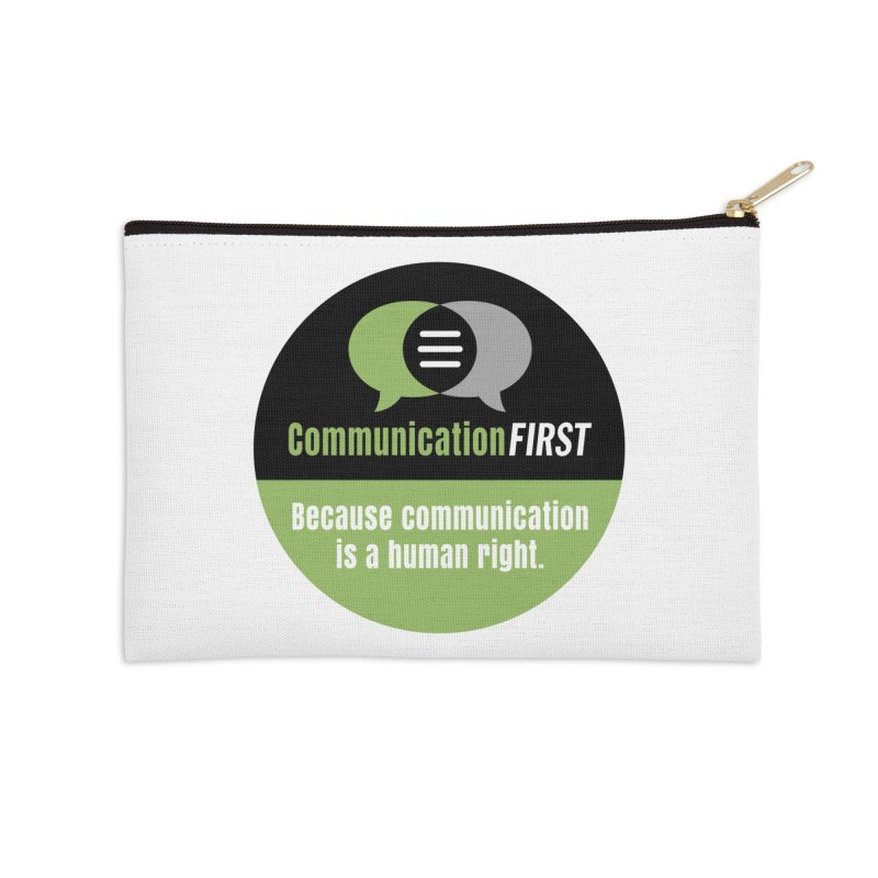 Green-on-Black Round CommunicationFIRST Logo Accessories Zip Pouch by CommunicationFIRST's Artist Shop