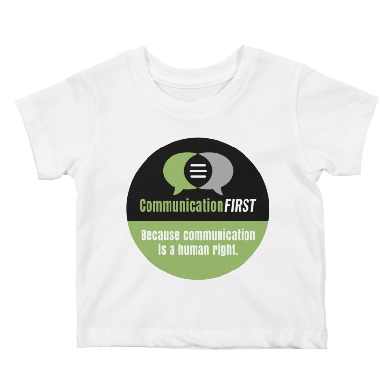 Green-on-Black Round CommunicationFIRST Logo Kids Baby T-Shirt by CommunicationFIRST's Artist Shop