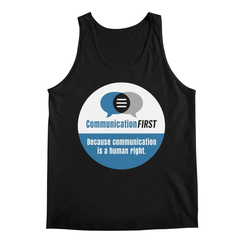 Blue-on-Black CommunicationFIRST Face Mask Men's Tank by CommunicationFIRST's Artist Shop
