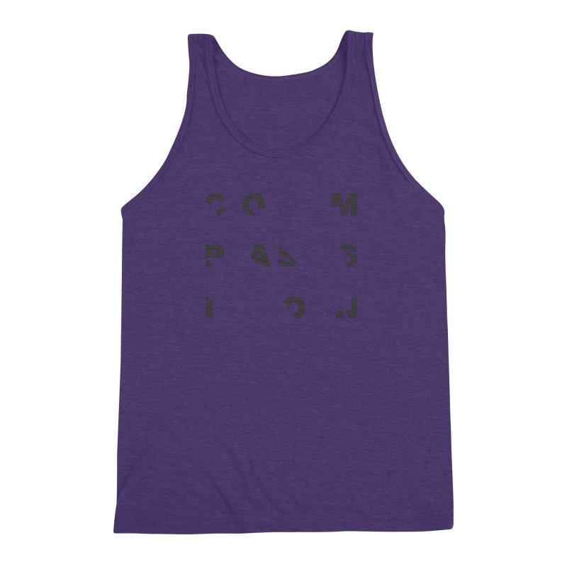 Compassion Disjointed Text - Charcoal Men's Triblend Tank by compassion's Artist Shop
