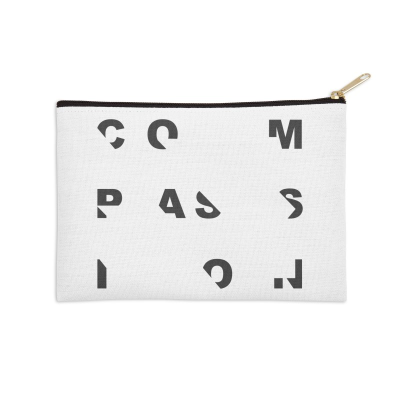Compassion Disjointed Text - Charcoal Accessories Zip Pouch by compassion's Artist Shop