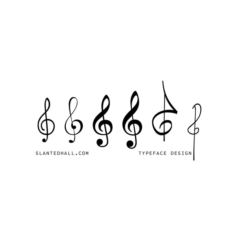 Treble Clefs Accessories Mug by Slanted Hall Typefaces and Music Notation Fonts