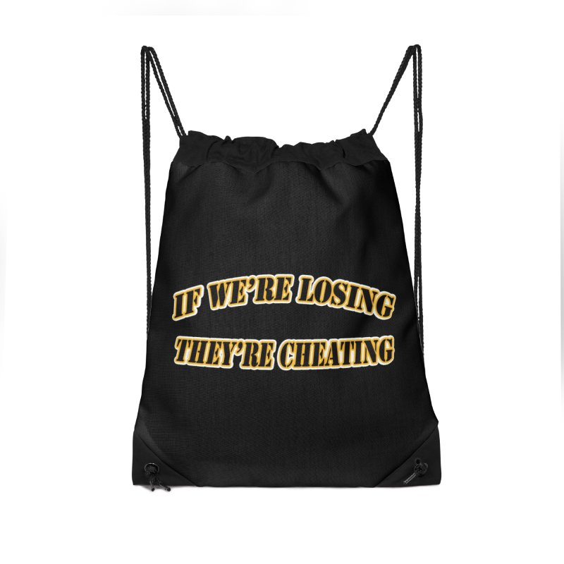 Cheating Accessories Drawstring Bag Bag by Conceive3D