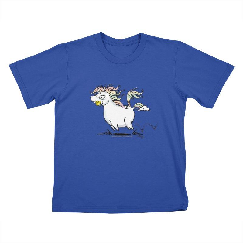 Farting Unicorn Kids T-Shirt by conniefaye's Artist Shop
