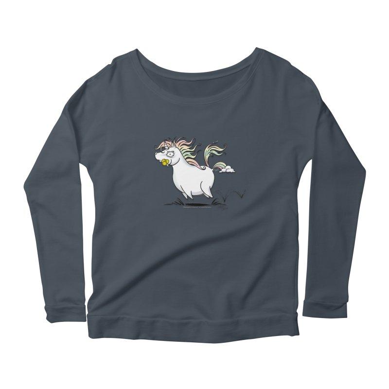 Farting Unicorn Women's Scoop Neck Longsleeve T-Shirt by conniefaye's Artist Shop