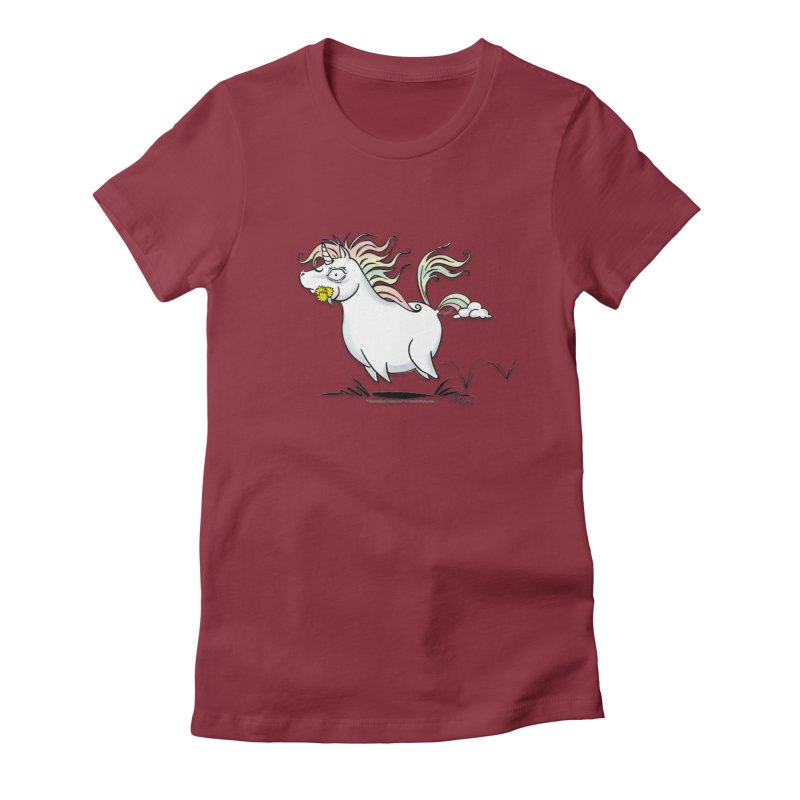 Farting Unicorn Women's Fitted T-Shirt by conniefaye's Artist Shop