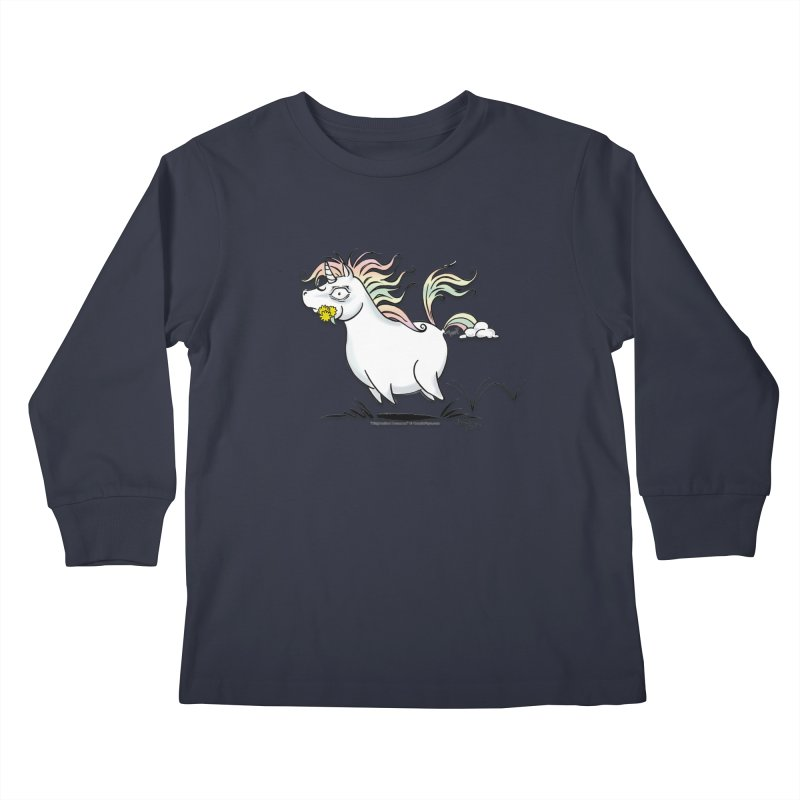 Farting Unicorn Kids Longsleeve T-Shirt by conniefaye's Artist Shop