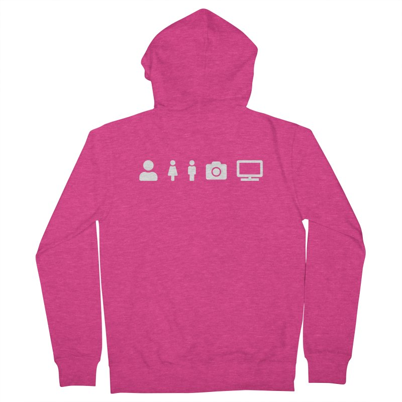 Person Woman Man Camera TV Women's Zip-Up Hoody by Content Pending - DrunkCast Live! Store