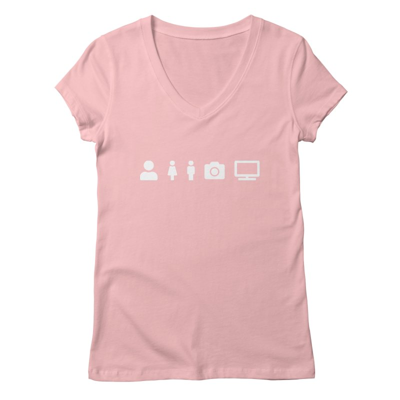 Person Woman Man Camera TV Women's V-Neck by Content Pending - DrunkCast Live! Store